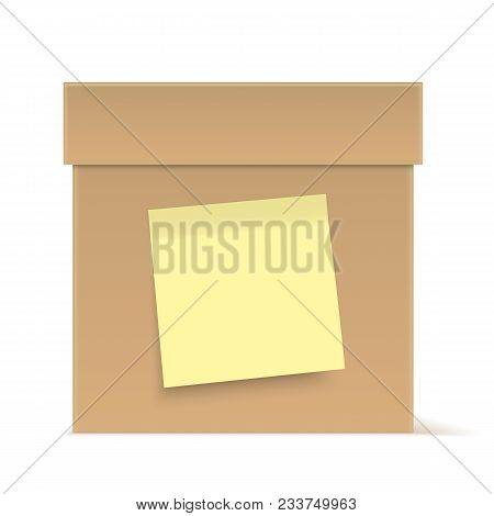 Brown Cardboard Box With Yellow Sticky Note, Isolated On Background. Vector Box.