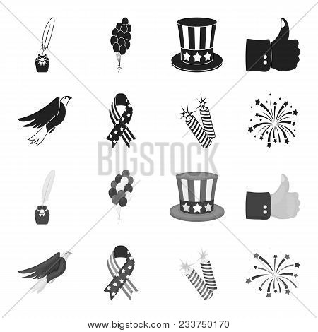 American Eagle, Ribbon, Salute. The Patriot Day Set Collection Icons In Black, Monochrome Style Vect