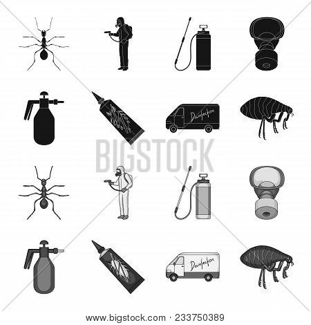 Flea, Special Car And Equipment Black, Monochrome Icons In Set Collection For Design. Pest Control S