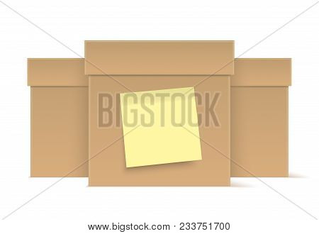 Brown Cardboard Boxes With Yellow Sticky Note, Isolated On Background. Vector Boxes.