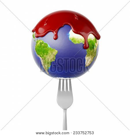 Planet Earth Globe On A Fork With Blood Running Down. 3d Illustration
