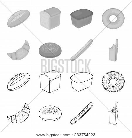 Rye Round Bread, A Croissant, A French Loaf, A Bag Of Bread.bread Set Collection Icons In Outline, M