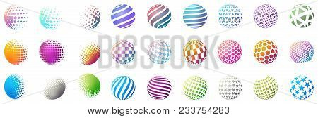 Set Of Minimalistic Shapes. Halftone Bright Color Spheres Isolated On White Background. Stylish Embl