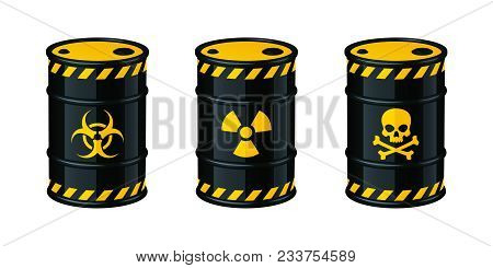 Barrels Of Waste Vector Illustration Isolated On White Background. Biohazard Waste, Radioactive Wast