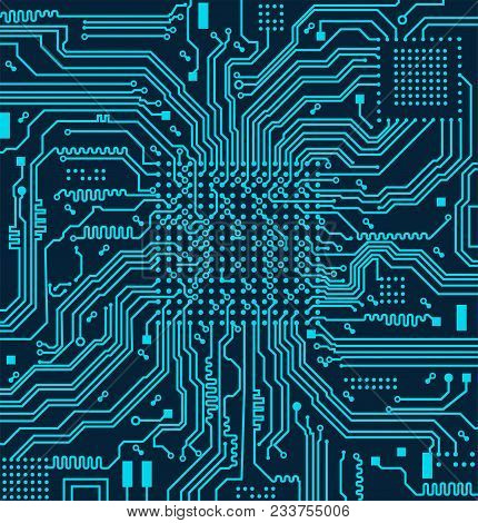 High Tech Circuit Board On Vector Background