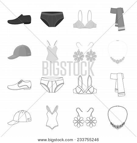 Cap, Earrings, Necklace, Swimsuit. Clothing Set Collection Icons In Outline, Monochrome Style Vector
