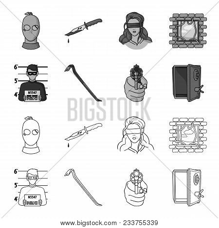 Photo Of Criminal, Scrap, Open Safe, Directional Gun.crime Set Collection Icons In Outline, Monochro