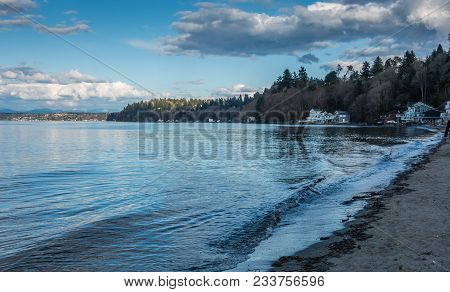 A View Of The Shoreline In Dash Point, Washington.