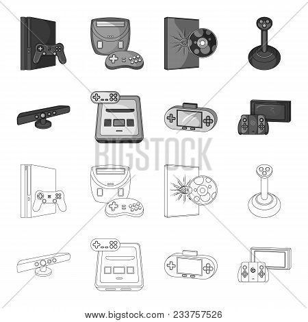 Game And Tv Set-top Box Outline, Monochrome Icons In Set Collection For Design.game Gadgets Vector S