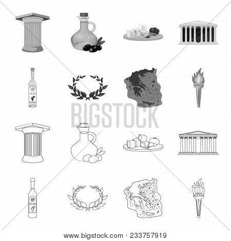 Greece, Country, Tradition, Landmark .greece Set Collection Icons In Outline, Monochrome Style Vecto