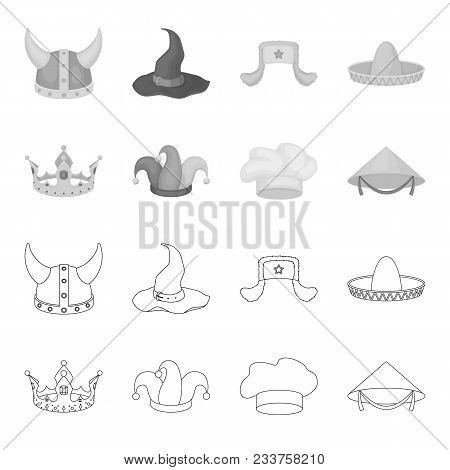 Crown, Jester Cap, Cook, Cone. Hats Set Collection Icons In Outline, Monochrome Style Vector Symbol