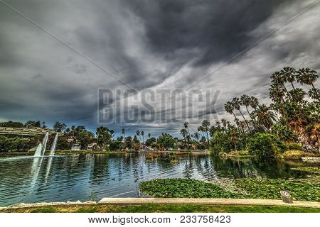 Dramatic Sky Over Echo Park In Los Angeles. Southern California, Usa