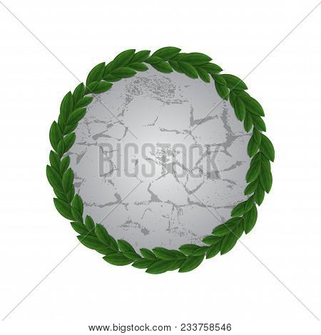 Frame Of Green Leaves With Old Gray Stone. Element Decor For Advertising And Greeting Cards. Eco Fri