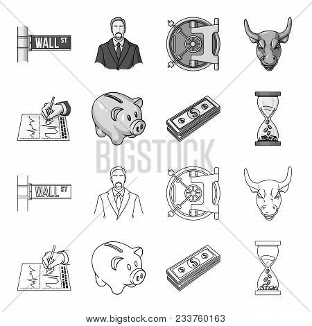 Bank, Business Schedule, Bundle Of Notes, Time Money. Money And Finance Set Collection Icons In Outl
