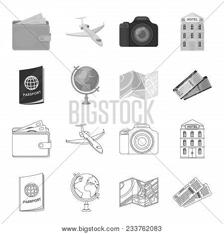 Vacation, Travel, Passport, Globe .rest And Travel Set Collection Icons In Outline, Monochrome Style