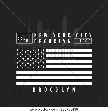 New York, Brooklyn Typography For T-shirt Print. New York City Skyline For T-shirt Design. Vector
