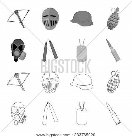 Gas Mask, Nunchak, Ammunition, Soldier Token. Weapons Set Collection Icons In Outline, Monochrome St