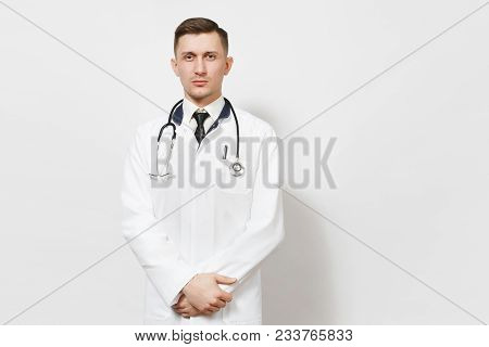 Serious Confident Experienced Handsome Young Doctor Man Isolated On White Background. Male Doctor In