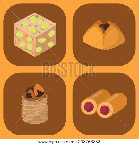 Sweets East Delicious Dessert Food Vector Confectionery Homemade Assortment Chocolate Cake Tasty Bak
