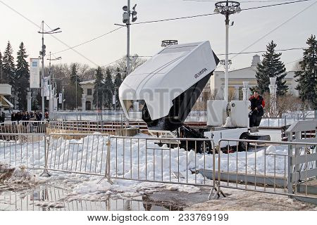 Moscow, Russia - March 11, 2016: The Machine For Resurfacing Ice Clearing The Snow After A Session O