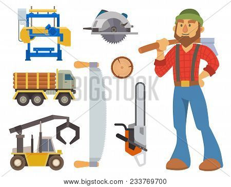 Sawmill Woodcutter Character Logging Equipment Lumber Machine Industrial Wood Timber Forest Vector I