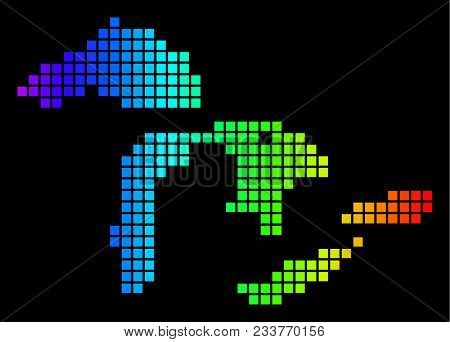 Spectrum Dotted Great Lakes Map. Vector Geographic Map In Bright Colors On A Black Background. Color