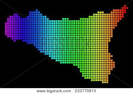 Spectrum Dotted Sicilia Map. Vector Geographic Map In Bright Colors On A Black Background. Multicolo