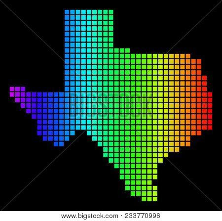 Spectrum Dotted Texas Map. Vector Geographic Map In Bright Colors On A Black Background. Multicolore