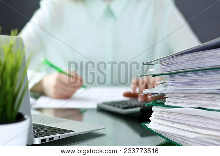 Bookkeeper Or Financial Inspector  Making Report, Calculating Or Checking Balance. Binders With Pape