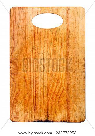Old And Used Natural Wooden Cooking Board With Cuts Isolated. High Resolution Photo.