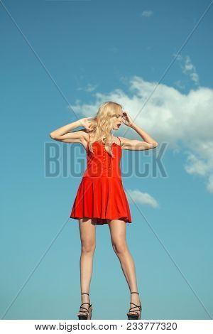 Girl With Sexy Legs, Loneliness. Woman With Blonde Hair Outdoor. Beauty And Fashion, Look. Woman In