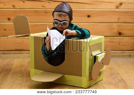 Dream, Career, Adventure, Education. Air Mail Delivery, Aircraft Construction. Little Boy Child Play