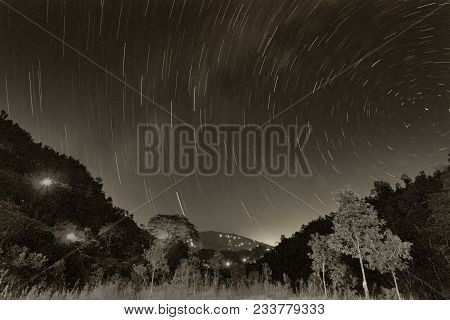 Beautiful Image Of Star Trails At Night Sky, Shot At Sikkim, India