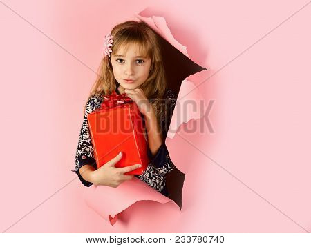 Birthday And Christmas. Child Girl With Present Pack, Cyber Monday. Childhood And Happiness, Gift Bo
