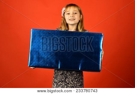 Childhood And Happiness, Gift Box. Child Girl With Present Pack, Cyber Monday. Birthday And Christma