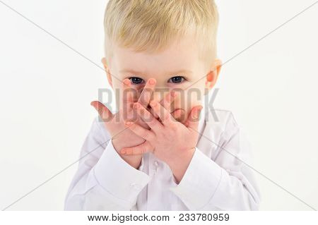 Childhood And Happiness, Little Boy. Kid Fashion, Style And Look, Boss Baby. Kid With Blonde Hair, F