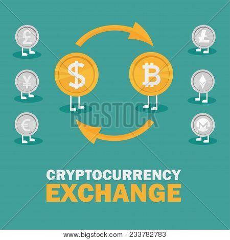 Dollar To Bitcoin Currency Exchange. Bitcoin Exchange With Bitcoin Coin Symbol And Sign Of Other Cur