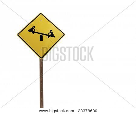 Tetter totter children's playground caution street sign.