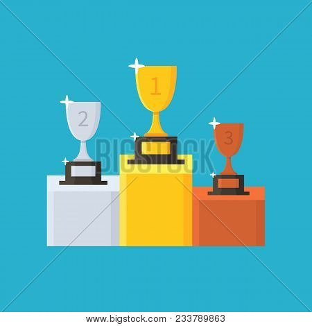 Collection Of Cups. Gold, Silver And Bronze Winners Trophy. Award. First, Second And Third Place. Wi