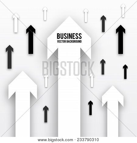 Black And White Arrows With Shadow  Isolated On White Background.  Business Analytic, Success Strate