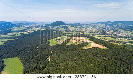 Forest, Village And Field Summer Landscape From Above - Drone View
