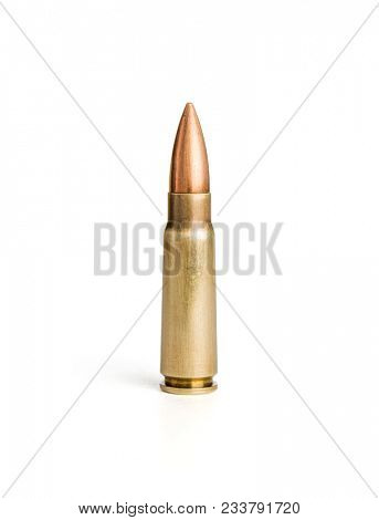Single rifle bullet on white background, including clipping path