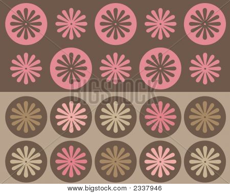 Retro Brown, Pink And Tan Circles And Flowers Design