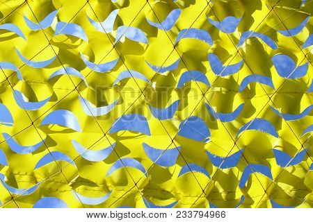Abstract Blue And Yellow Background, Geometric Shape. Canary Yellow Netting, Cropped Shot. Yellow Ne
