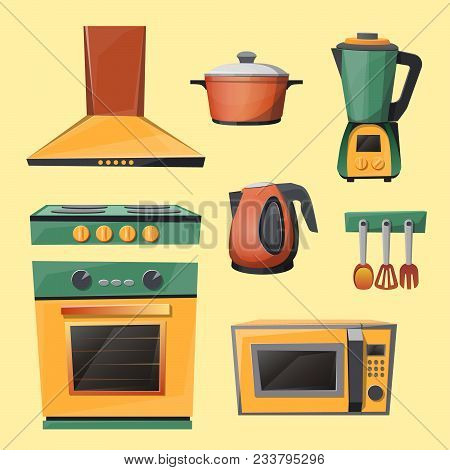 Vector Cartoon Set Of Kitchen Appliances - Microwave Oven, Kettle, Blender, Mixer, Stove With Exhaus