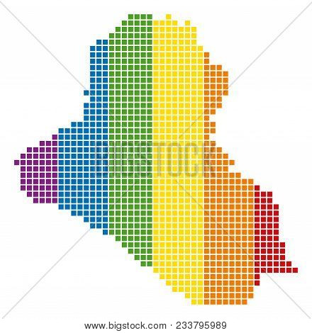 A Dotted Lgbt Iraq Map For Lesbians, Gays, Bisexuals, And Transgenders. Vector Geographic Map In Lgb