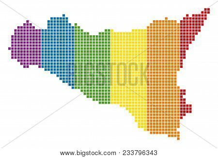 A Dotted Lgbt Sicilia Map For Lesbians, Gays, Bisexuals, And Transgenders. Vector Geographic Map In