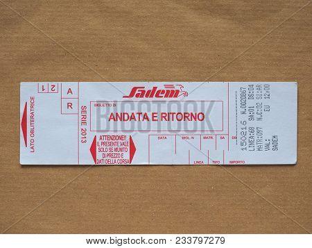 Turin, Italy - Circa March 2018: Italian Sadem Airpost Shuttle Bus Ticket. Andata E Ritorno Means Re