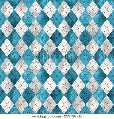 Argyle Seamless Plaid Pattern. Watercolor Hand Drawn Gray Teal Blue Texture Background. Watercolour