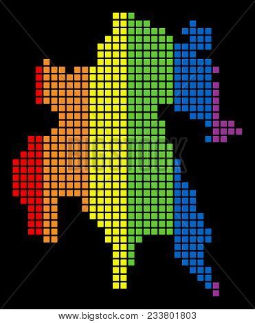 A Dotted Lgbt Pride Peloponnese Half-island Map For Lesbians, Gays, Bisexuals, And Transgenders. Col